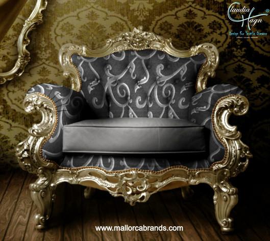 Exklusiver Sessel mit Jacquardgewebe von