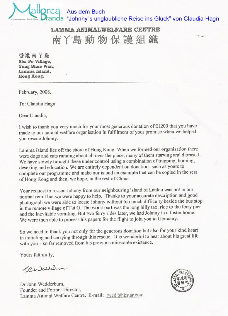Danksagung _ Beleg für Spende aus China