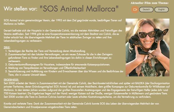 Infotext über SOS Animal in Calvia auf M
