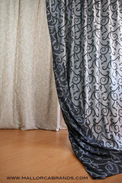 Dekovorhang Ornament grau/silber, Jacquard Designerkollektion