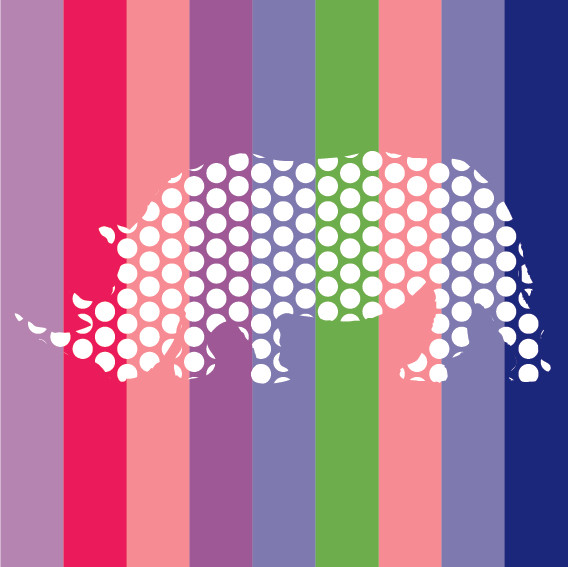 Dotted Rhino on Stripes