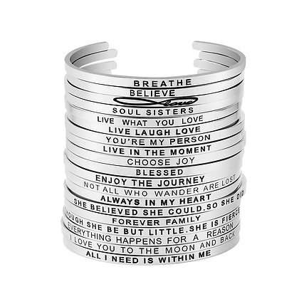Stainless Steel Engraved Inspirational Cuff Bangle Bracelet
