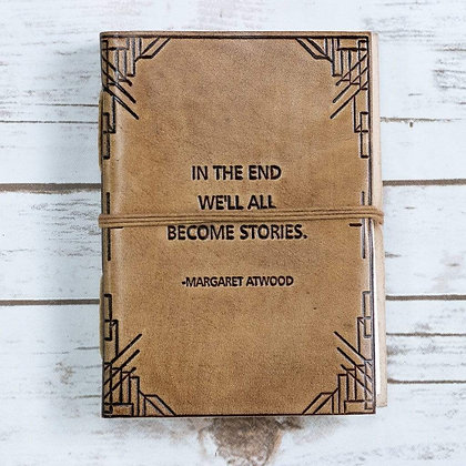 """""""We All Become Stories"""" Blonde Handmade Leather Journal"""