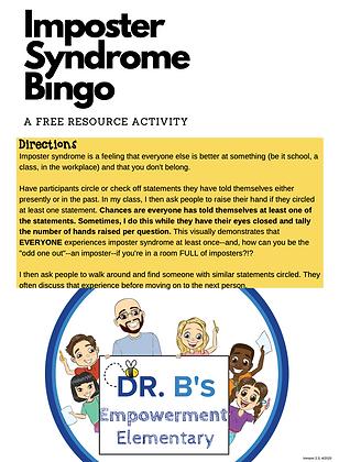 Imposter Syndrome Bingo! (Free)