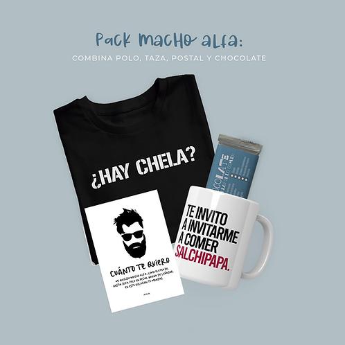 Pack Macho Alfa: Polo + Taza + Postal + Chocolate
