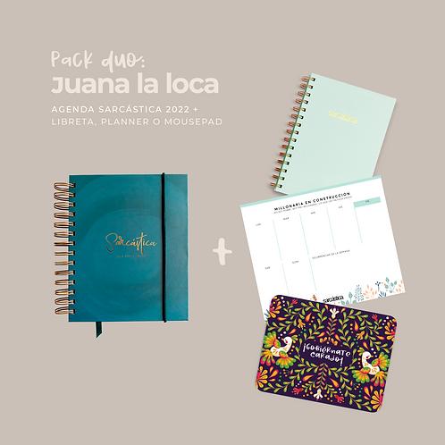 Pack Juana La Loca (Dúo Agenda + Libreta/Planner/Mousepad)