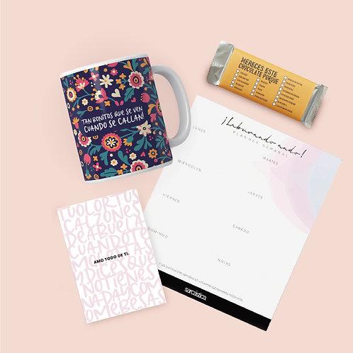 Pack Regalo Dúo Taza + Planner + Postal + Chocolate