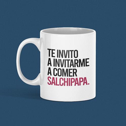 Taza Te invito a invitarme a comer una salchipapa