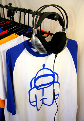 T-Shirt White w/ Blue sleeves