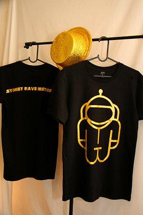 T-Shirt - Black with Metallic Gold Logo