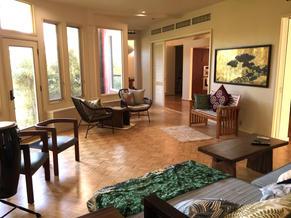 Living room overlooks inner yard