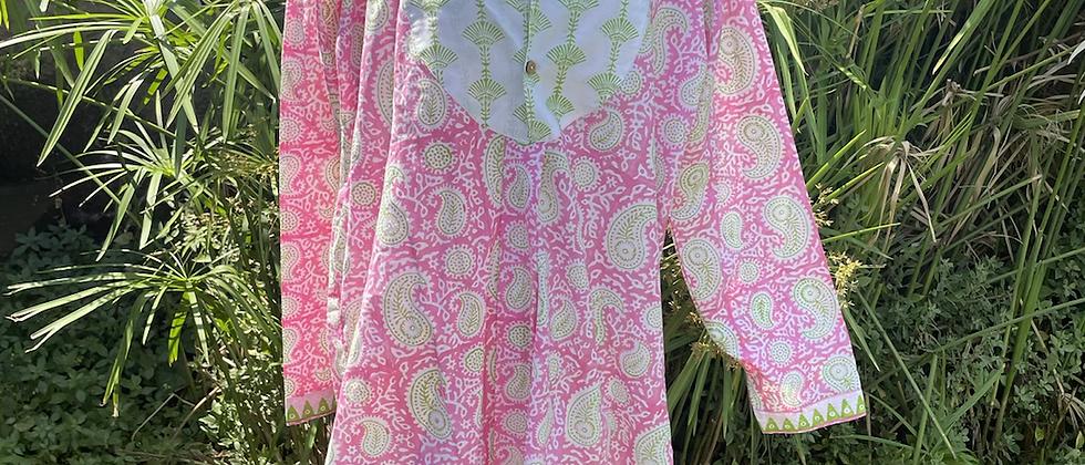 Tunique rose et anis