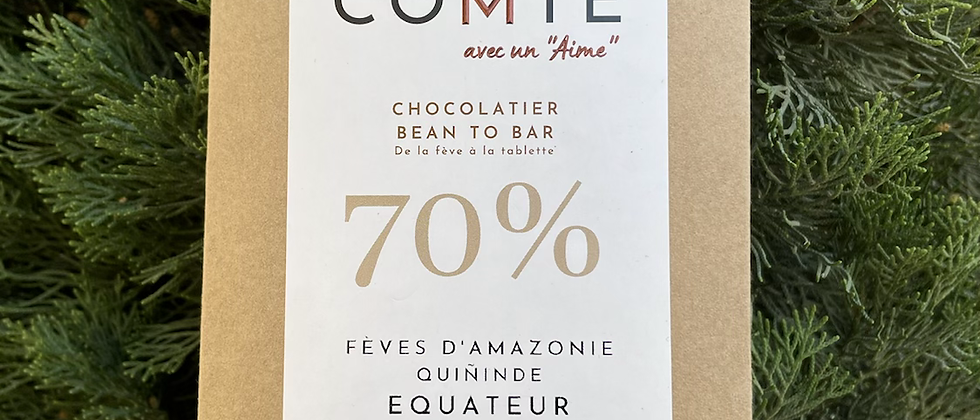 Plaquette de Chocolat 70% fève d'Amazonie