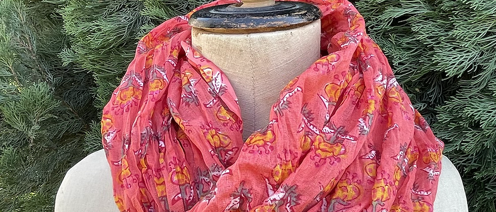 Écharpe fleurie orange
