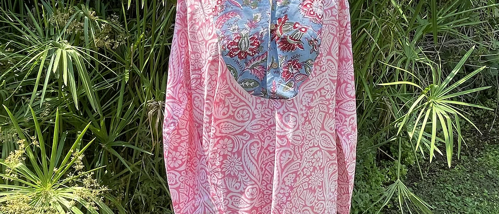 Tunique roses et bleu gitane