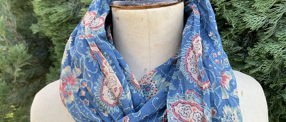 Écharpe Madras Bleue