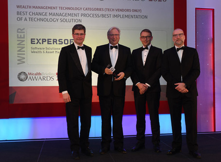 Expersoft wins two awards at the Wealth Briefing Swiss Awards 2020