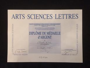 Médaille d'Argent de L'Académie Art Sciences Lettres!