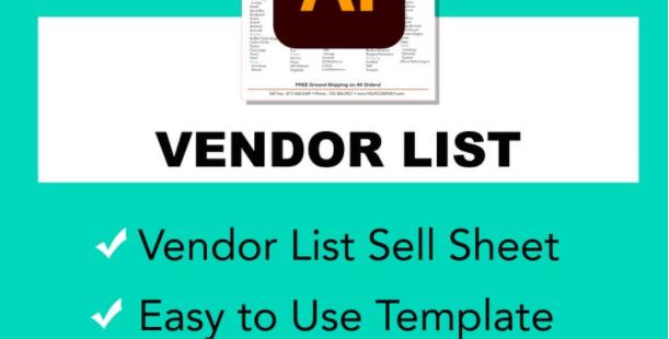 Vendor List Sell Sheet - Vector Illustrator Template