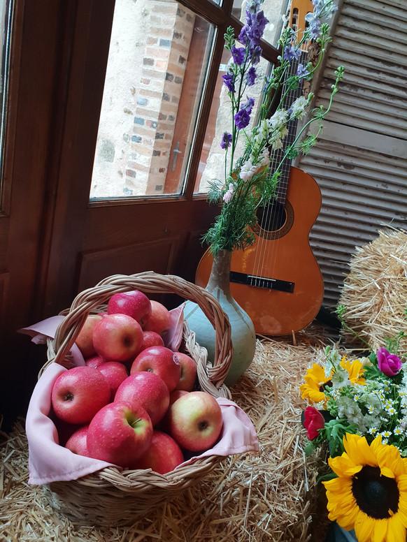 Détails pomme et guitare