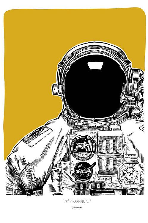Astronaut Postcard A5 (yellow)