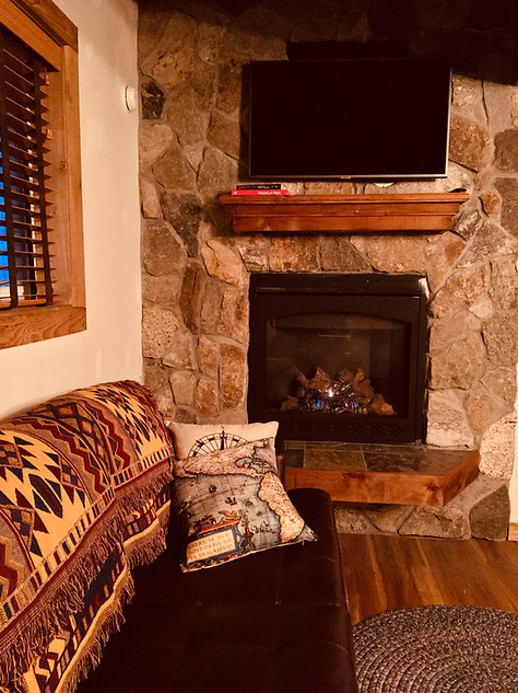 Trailside Flyby couch and Fireplace