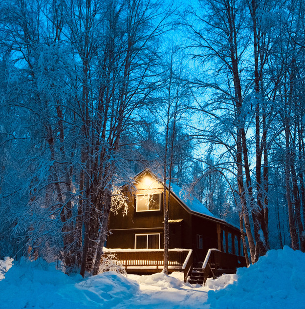 Trailside Cabins Winter Porch at Dusk