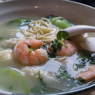 105 - Homemade Noodles in Soup with King Prawns, Squid, and Fish Balls