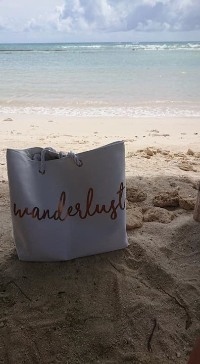 Fab Beach bag from Asos.com overlooking the Caribbean Ocean