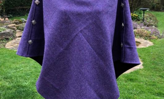 Tweed Poncho - Lavender