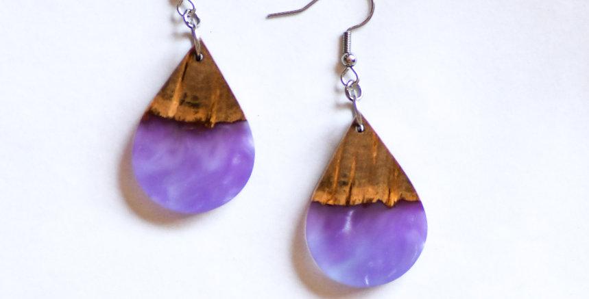 Wood and Resin Small Teardrop Earrings