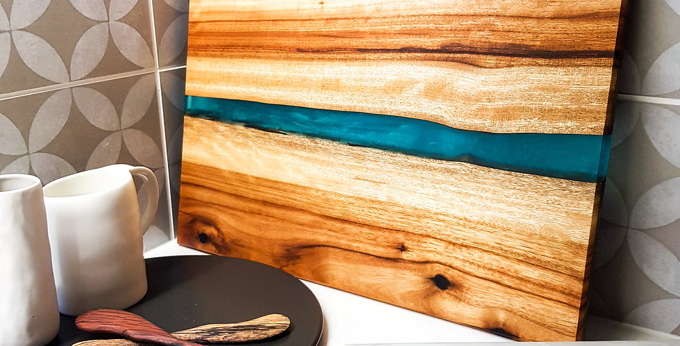 Wood and Resin River Serving Board