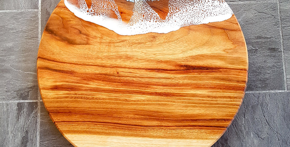Round Wood and Resin Ocean Serving Board