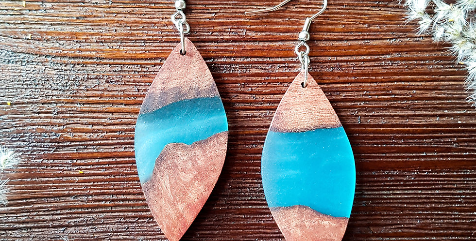 Wood and Resin Large Leaf Earrings