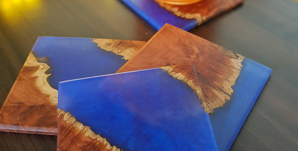 Burl Wood and Resin Coasters 2p