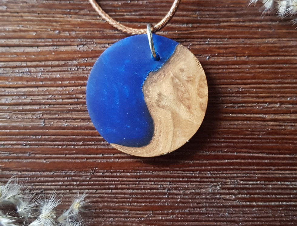 Wood and Resin Small Circle Pendant