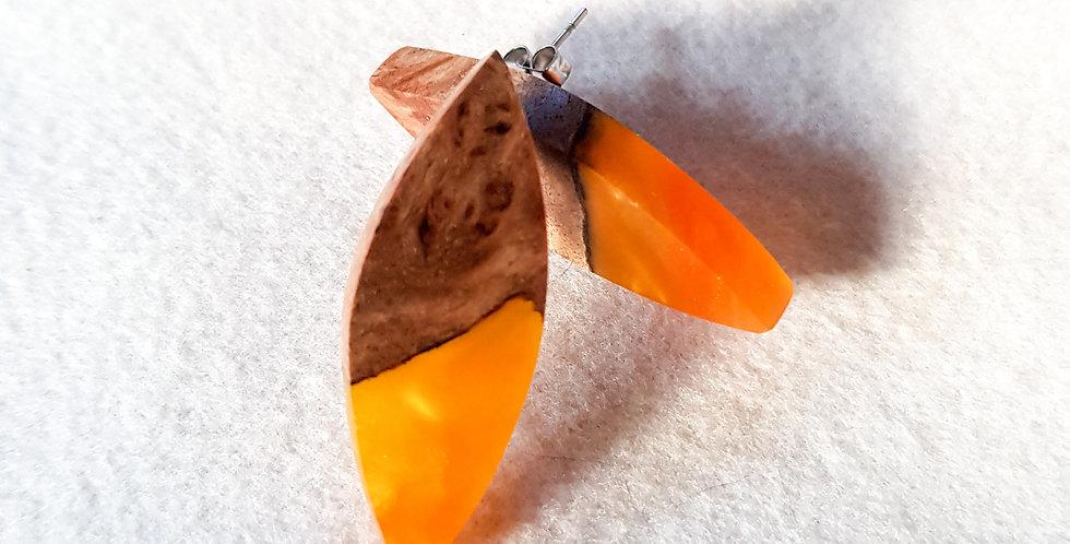 Wood and Resin Leaf Stud Earrings