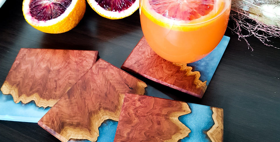 Burl Wood and Resin Coasters 4p