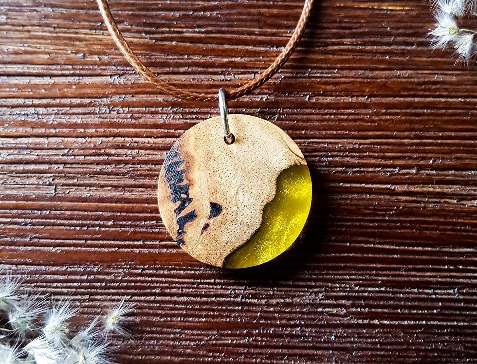 Wood and Resin Small Circle Pendant