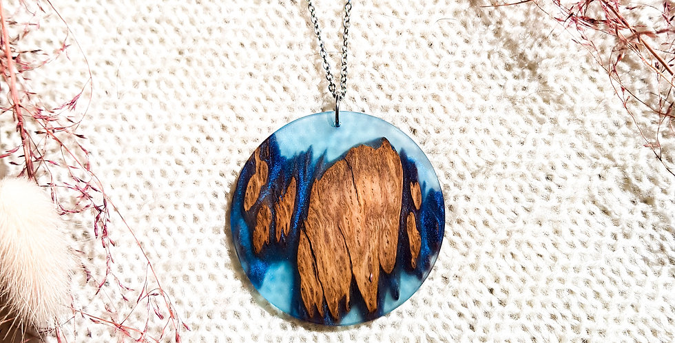 Wood and Resin Large Round Pendant