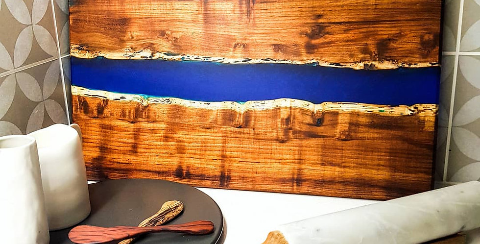 Large Wood and Resin River Serving Board