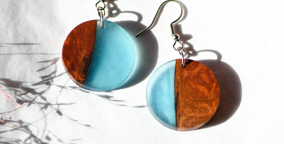 Wood and Resin Round  Earrings