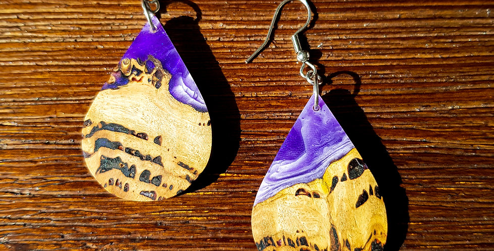 Wood and Resin Teardrop Earrings