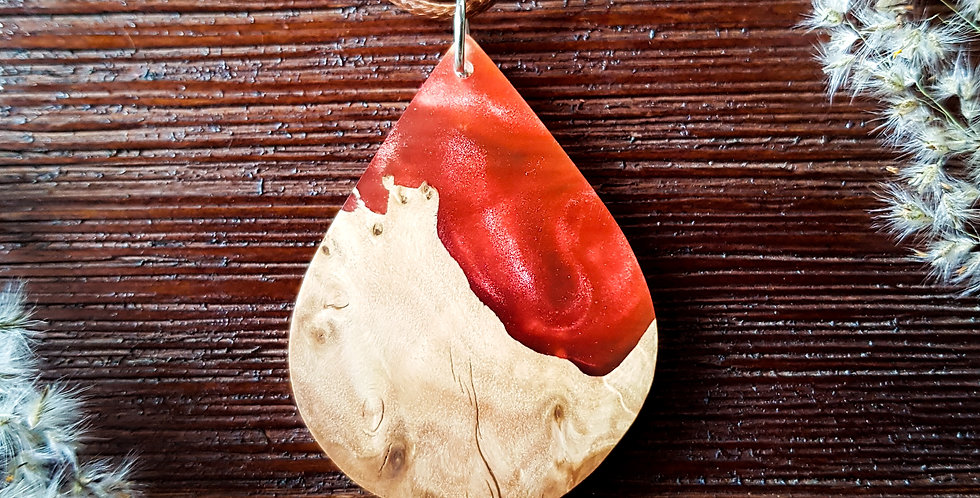 Wood and Resin Large Teardrop Pendant
