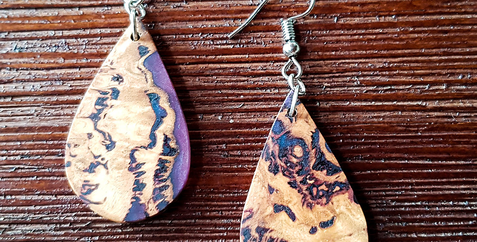 Wood and Resin Teardrop Earrings