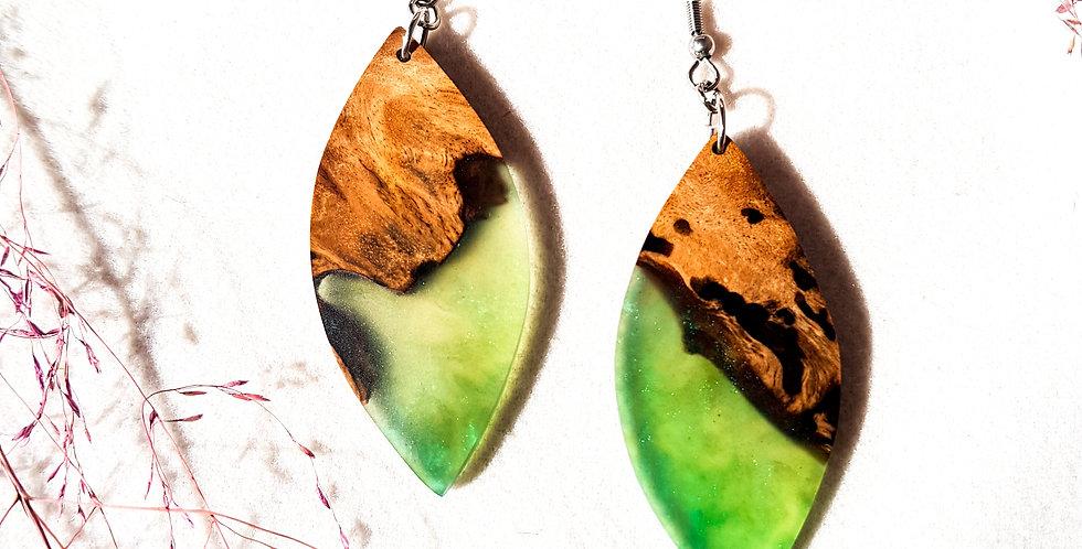 Wood and Resin Large Leaf Earrings