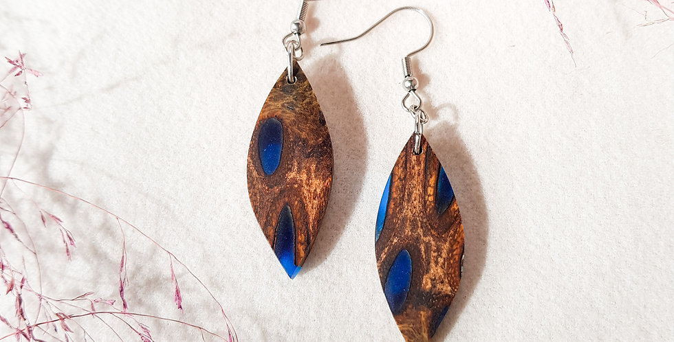 Banksia and Resin Small Leaf Earrings