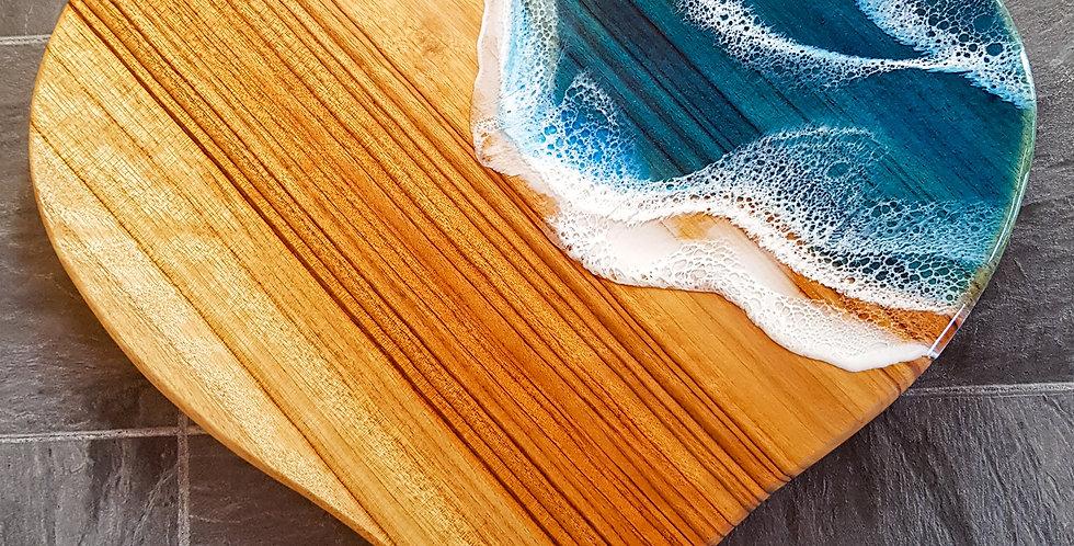 Love Heart Wood and Resin Ocean Serving Board