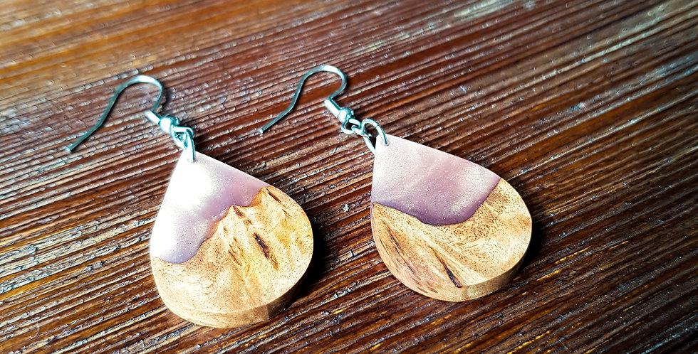 Wood and Resin Teardrop Earrings Small