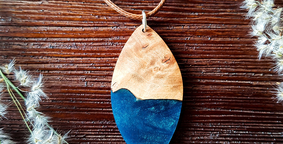 Wood and Resin Large Leaf Pendant